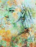 Potlood die op document, Indische vrouw en veren in haar trekken Kleureneffect en Computercollage royalty-vrije illustratie