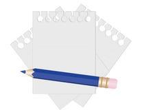 Potlood en document voor nota's. Royalty-vrije Stock Foto's