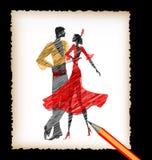 Potlood en het beeld van flamencodansers Stock Foto's