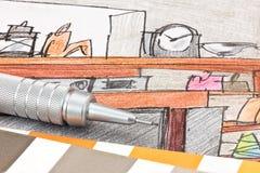 Potlood met kleurenmonsters op gekleurde schets van huis binnenlandse ma stock afbeelding