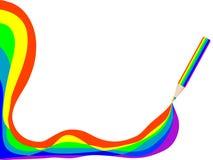 Potlood met regenboog Stock Foto's