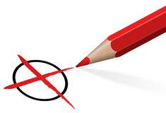 potlood met rood kruis royalty-vrije illustratie