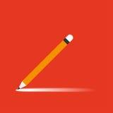 Potlood met schaduw op oranje achtergrond Royalty-vrije Stock Afbeeldingen