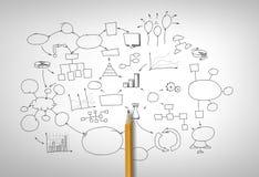 Potlood op uitwisselings van ideeëndiagram Stock Foto's