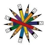 7-potlood-schikken-in-a-cirkel Stock Afbeelding