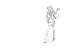 Potloodillustratie, het Trekken van Jonge Vrouw in wind Royalty-vrije Stock Afbeeldingen
