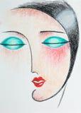 Potloodillustratie van vrouw met gesloten ogen Royalty-vrije Stock Foto