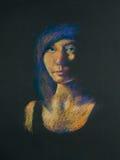 Potloodportret van vrouw in dark Royalty-vrije Stock Foto's