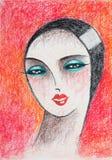 Potloodportret van vrouw met rode achtergrond Stock Afbeelding