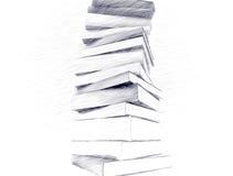 Potloodschets van boeken Stock Afbeeldingen