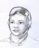 Potloodschets van een jongen met glazen Royalty-vrije Stock Afbeelding