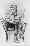 Potloodschets van een mens in leunstoel Royalty-vrije Stock Foto