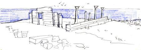 Potloodschets van stadslandschap Ruïnes van oude Chersonese van Taurida Het trekken met kleurpotloden hatching royalty-vrije illustratie