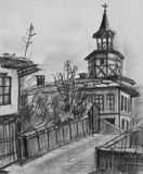 Potloodtekening van de Oude Klokketoren in Tryavna Royalty-vrije Stock Foto