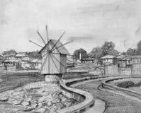 Potloodtekening van de Oude Windmolen van Nesebar Stock Fotografie