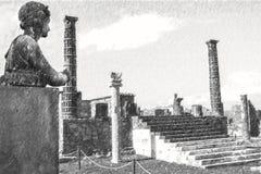 Potloodtekening van Pompei, oud roman standbeeld van Apollo stock illustratie