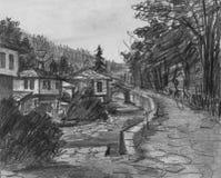 Potloodtekening van Traditionele Oude Bulgaarse Huizen Stock Afbeelding