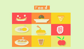 Potluck and asia food of modern flat design icons. Illustration and  esp 10 Stock Image