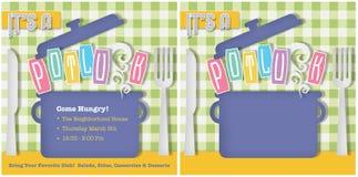 Potluck Invitation. Picnic BBQ Food Fun Company Pot Luck Colorful Invite Vector Knife Fork Tablecloth Charity Church royalty free illustration