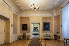 Potocki宫殿的内部在利沃夫州,乌克兰 库存照片