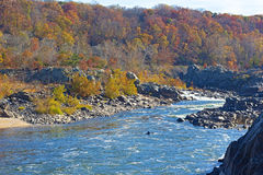 Potomac River flow after the waterfall in Great Falls state park, Virginia, USA. Stock Image