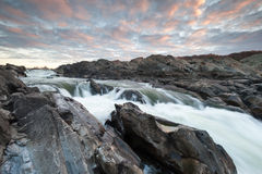 Potomac River Great Falls Mather Gorge Sunrise Scenic Landscape Stock Image