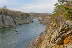 Potomac River at Great Falls Park in winter, Maryland, USA. Royalty Free Stock Photo