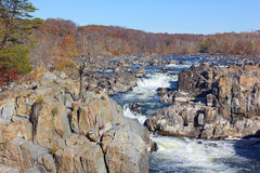 Potomac River in Great Falls state park in autumn, Virginia, USA. Stock Photos