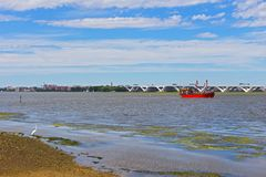 Potomac River at National Harbor, Maryland, USA. OXON HILL, MARYLAND, USA – SEPTEMBER 11: Potomac River panorama at National Harbor on September 11, 2016 Royalty Free Stock Images