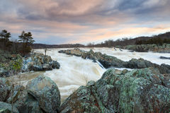 Potomac River Spring Water Flow Great Falls Virginia Stock Photos