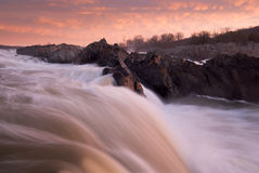 Potomac River Sunrise Great Falls Park Stock Images