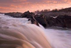 Potomac River Sunrise Great Falls Park Stock Images