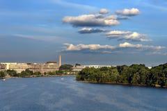 Potomac river at sunset stock photo