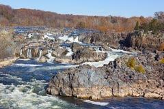 Potomac River waterfalls panorama in Great Falls state park in Virginia, USA. Royalty Free Stock Photos