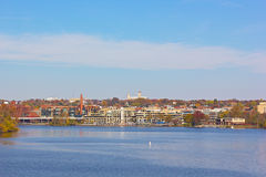 Potomac River waterfront at Georgetown Park in the early autumn morning. Royalty Free Stock Photos