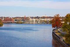 Potomac River waterfront near Georgetown Park, Washington DC, USA. Stock Image