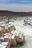 Potomac River in Winter at Great Falls National Park Virginia Royalty Free Stock Images