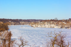 Potomac River in winter, Washington DC. Royalty Free Stock Photo