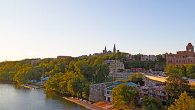 Potomac riverbank with Georgetown University. Georegtown University stands on the high bank of Potomac river in US Capital, Washington DC Stock Photography