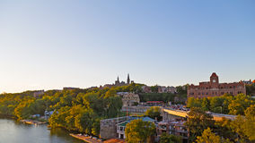 Potomac riverbank with the view of Georgetown University in US capital. Royalty Free Stock Photos