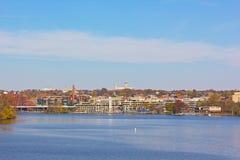 Potomac Rzeczny nabrzeże przy Georgetown parkiem w wczesnym jesień ranku Zdjęcia Royalty Free