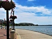 Potomac Rzeczny widok od Waszyngtońskiego schronienia Boardwalk zdjęcie royalty free