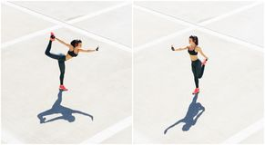 Potomstw, dysponowanej i sporty kobieta robi sportom przy stret, Sprawność fizyczna, sport, miastowy jogging i zdrowy stylu życia obrazy stock