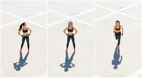 Potomstw, dysponowanej i sporty kobieta robi sportom przy stret, Sprawność fizyczna, sport, miastowy jogging i zdrowy stylu życia zdjęcie stock