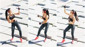 Potomstw, dysponowanej i sporty kobieta robi sportom przy stret, Sprawno?? fizyczna, sport, miastowy jogging i zdrowy stylu ?ycia obrazy royalty free