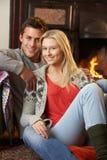 Potomstw pary obsiadanie otwierający ogień Obraz Stock