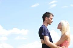 Potomstw pary przytulenie Zdjęcia Stock