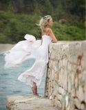 Potomstw, pięknej i seksownej kobieta, biel suknia, wiatr Obrazy Stock