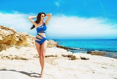 Potomstw, pięknej, sporty i seksownej kobieta w swimsuit, Zdjęcie Stock