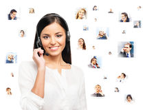 Potomstw, ufnego i pięknego obsługa klienta operator, odizolowywa Obraz Stock